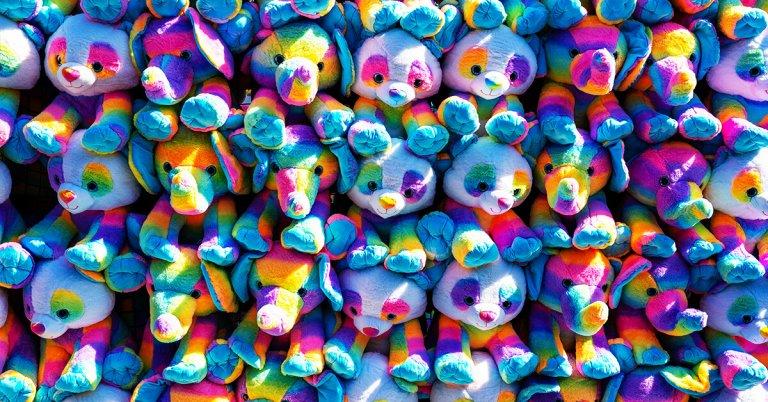 wall of stuffed animals
