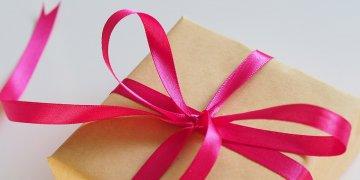 gift box with pink ribbon